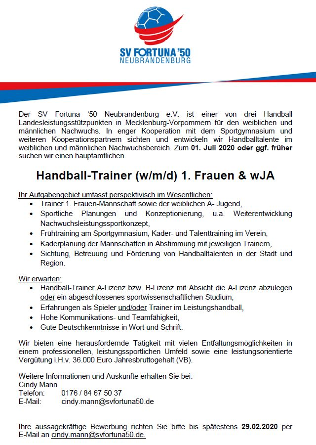 Handball-Trainer (w/m/d) 1. Frauen & wJA